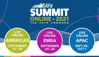 La Cumbre Global SAFe 2021, de dos días de duración, se llevará a cabo en modalidad virtual en tres zonas horarias: las Américas, Europa y Asia. (PRNewsfoto/Scaled Agile, Inc.)