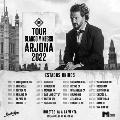 "Ricardo Arjona USA Tour 2022 ""Blanco y Negro"""